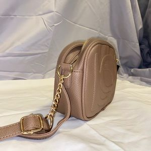 Bebe Brown Poppy Camera Crossbody Bag